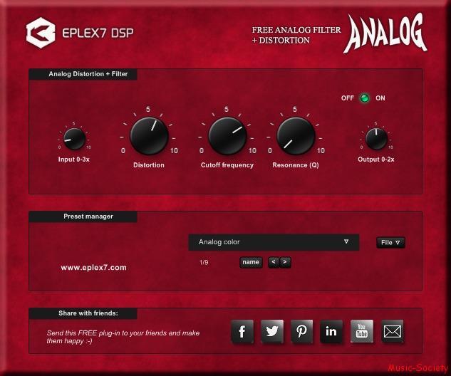 Free_Analog_filter_Analog_distortion_vst